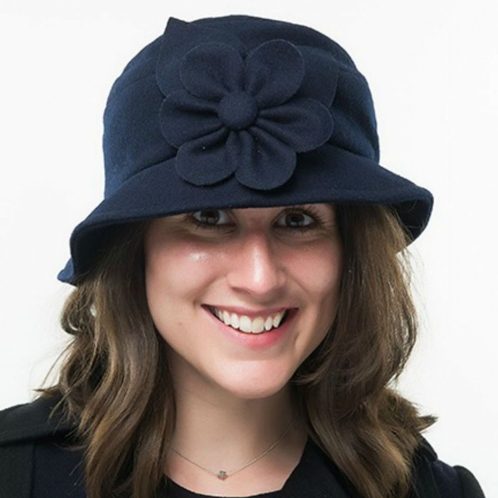 Navy Melton Wool Cloche Hat with side flower - Heather